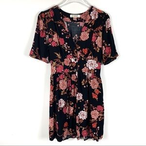 Band of Gypsies Floral Button Down Dress w/Pockets